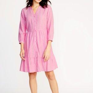 Old Navy Linen Blend Shirt Dress